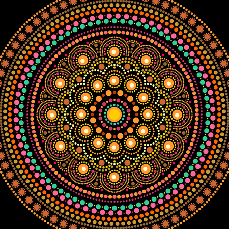 Ethnic mandala design. Dot painting art in aboriginal style. Decorative round ornament Ilustração