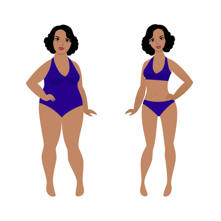 Woman before and after weight loss, from fat to slim Ilustracja