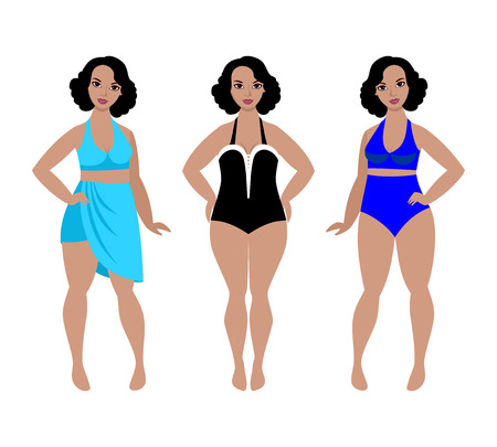 Swimsuit models for plus size women, beautiful curvy girls in swimwear Illustration