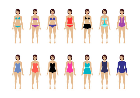 Collection of female swimsuit. Different types of swimwear