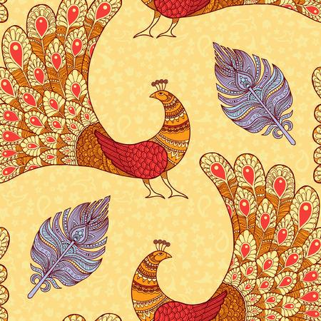 공작 및 깃털 원활한 패턴 노란색