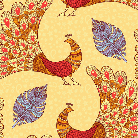 Peacocks and feathers seamless pattern in yellow Ilustracja