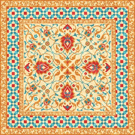 Oriental rug, ornate ornamental floral pattern, vector style