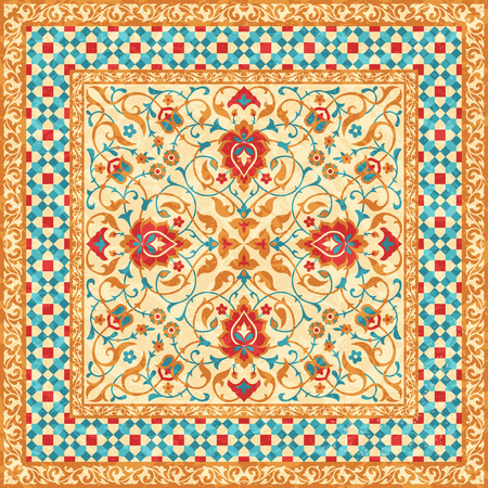 Oriental rug, ornate ornamental floral pattern, vector style