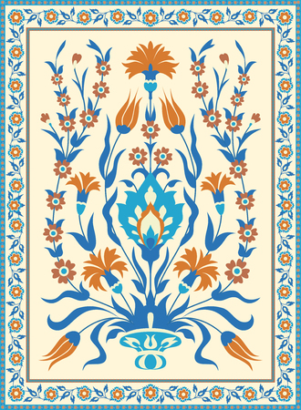 Folk style floral design. Traditional Islamic Turksh Ottoman motif. Vintage card template Illustration