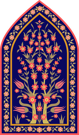 Traditional Islamic floral design. Ottoman tile motif. Ornate vintage card template