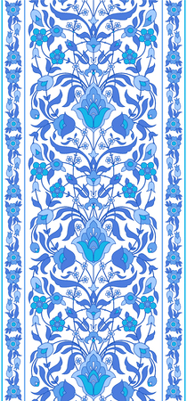 Blue and white Islamic ornament. Traditional Arabic Ottoman ancient motif