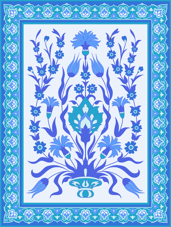 Traditional oriental floral design in blue and white Ilustrace