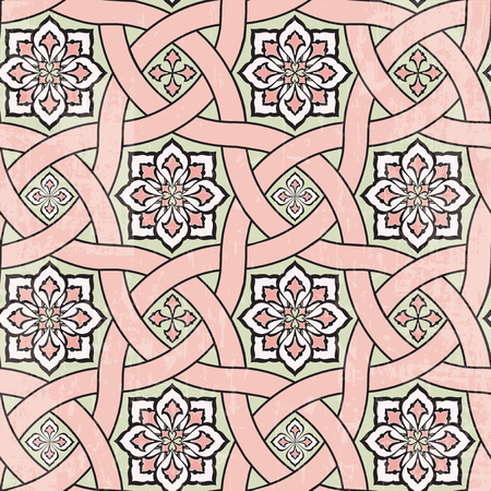 Ancient tile ornamental background, vector seamless pattern
