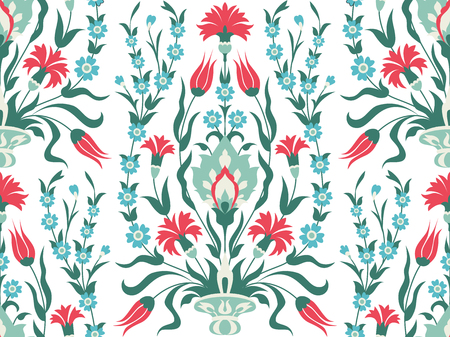 Bouquet of flowers, decorative background in oritntal style, vector seamless pattern Illustration