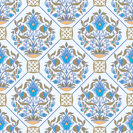 Ceramic tile floral background, ornamental seamless pattern