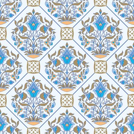 Ceramic tile floral background, ornamental seamless pattern