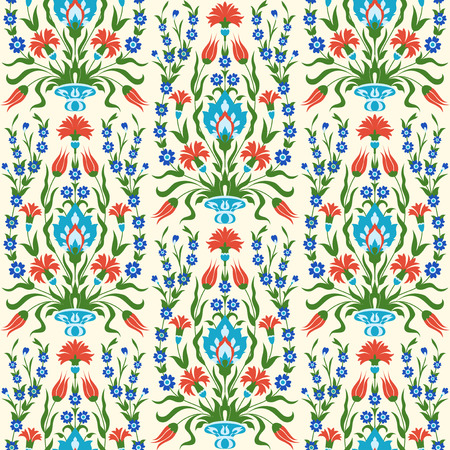 Decorative flowers in oriental style. Seamless floral pattern.
