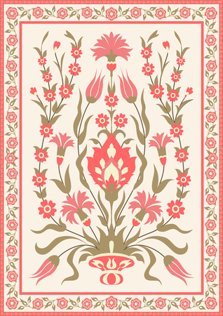 Traditional eastern floral design. Template for greeting card or invitation in oriental style. Vector illustration.