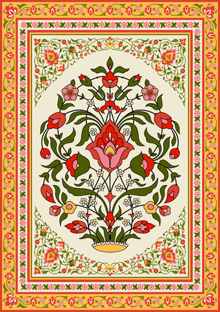 Traditional floral design in oriental style, vector illustration.