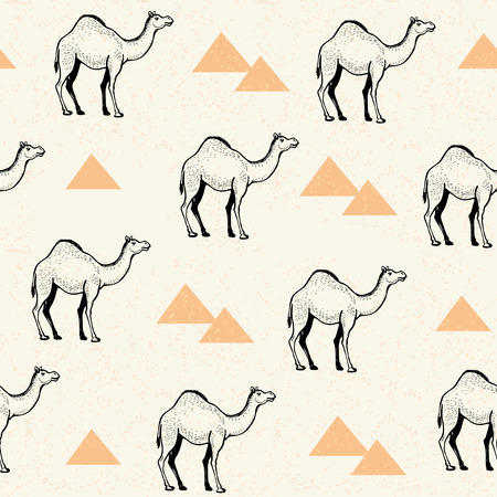 Camels and pyramids vector seamless pattern. Stock Illustratie