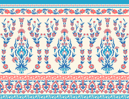 Traditional floral fabric seamless pattern. Illustration
