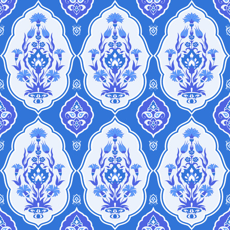 Blue floral seamless pattern in oriental style Illustration