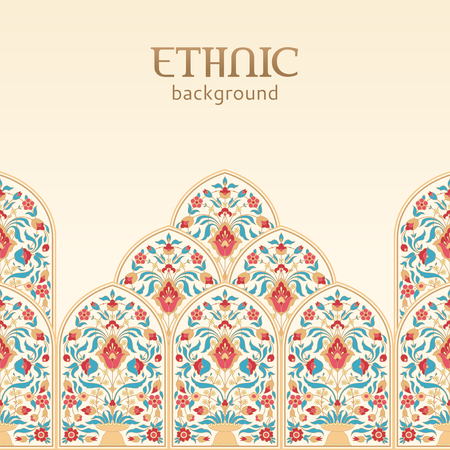 Ethnic oriental floral background with place for text Illustration