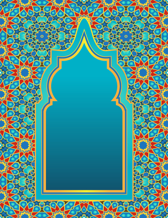 Multicolored background Islamic mosaic and arch. Greeting card template