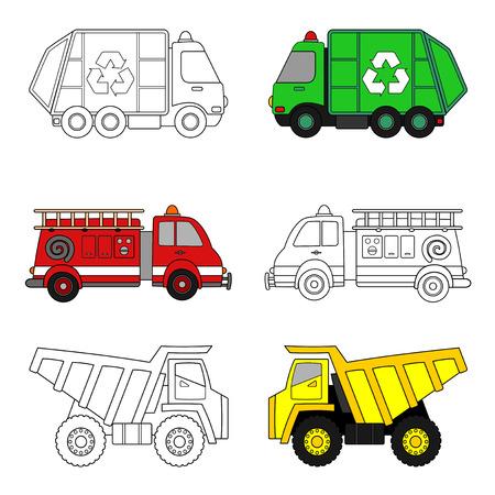 Página para colorear para niños. Camión de basura, camión de bomberos y camión volquete