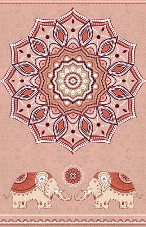 Elephants and mandala, ornamental ethnic design, indian style Illustration