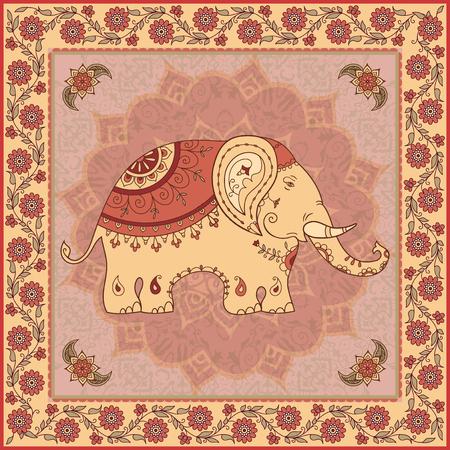 Ethnic design with elepahant, mandala and flowers Illustration