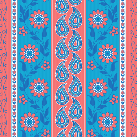 Flowers and paisley striped pattern