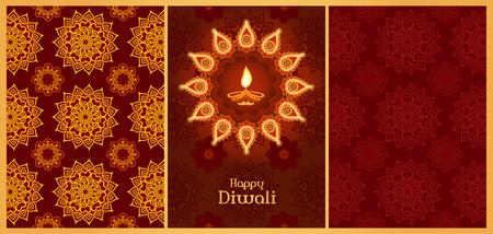 Divali greeting card template and mandala seamless backgrounds Stockfoto - 111106381
