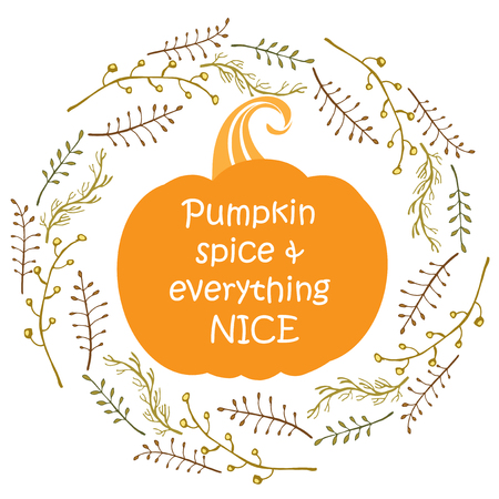 Pumpkin spice and everything nice poster. Template for autumn and Thanksgiving seasonal design