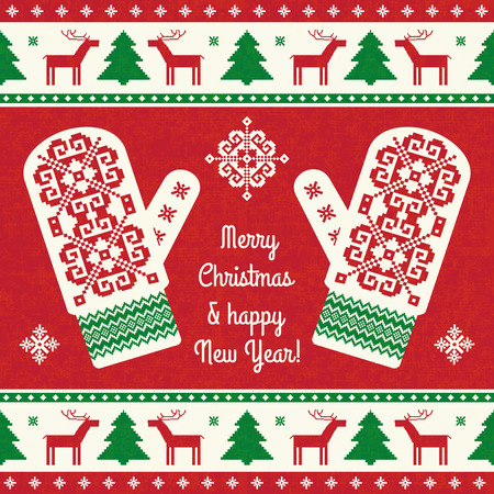Christmas card design template. Red and green background with traditional patterned mitterns