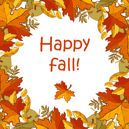 Happy fall template for seasonal autumn and Thanksgiving design. Colorful autumn leaves and text at white background