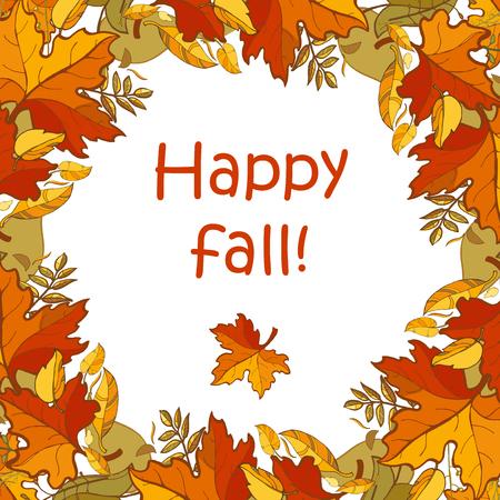 Plantilla de otoño feliz para otoño estacional y diseño de Acción de Gracias. Coloridas hojas de otoño y texto en fondo blanco.