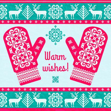 Souhaits chaleureux. Modèle de conception de carte de Noël. Fond rouge et vert avec des mitaines à motifs traditionnels Vecteurs