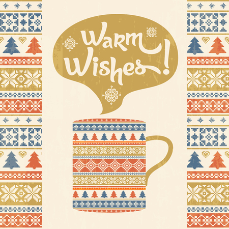 Warm wishes background. Traditional knitted ornament and mug of hot drink. Greeting card design template Illustration