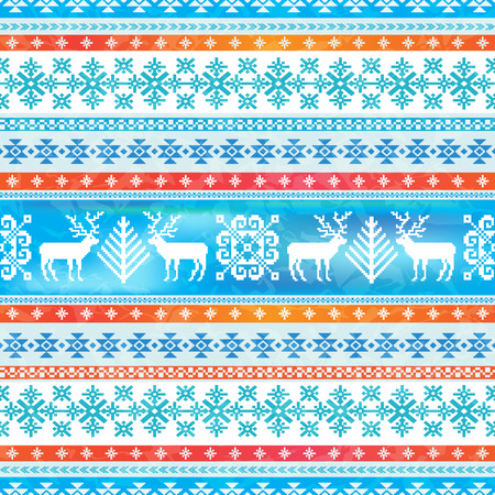 Christmas and New Year winter background. Ornamental seamless pattern. Traditional nordic knitted motives 向量圖像