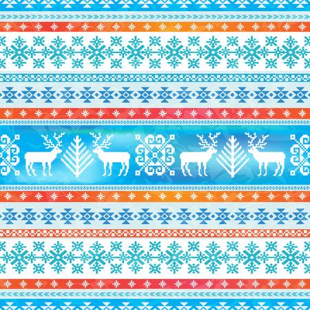 Weihnachten und Neujahr Winter Hintergrund. Ornamentale nahtlose Muster. Traditionelle nordische Strickmotive