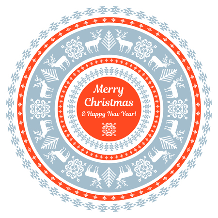 Ornamental circular Christmas and New Year card template 向量圖像