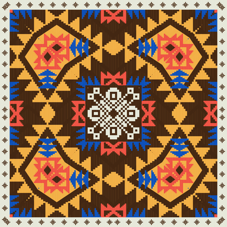 Geometric ornament in ethnic style, seamless pattern