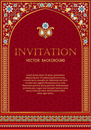 Ornate invitation template in red and gold