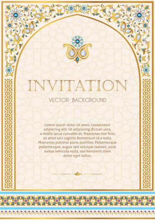 Plantilla de invitación para el diseño de una invitación de boda adornada, tarjetas de felicitación y otros. Marco floral ornamental de oro y joyería. Árabe, persa, estilo indio