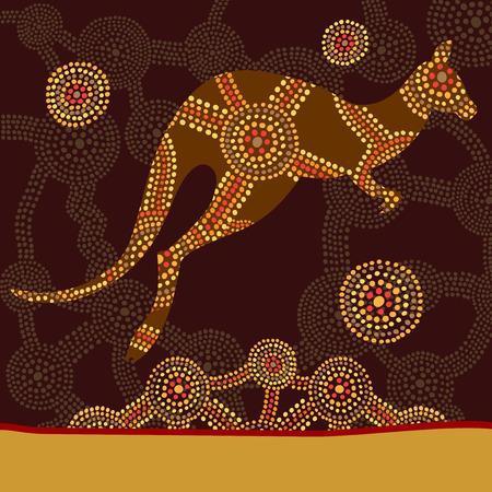 Canguro en estilo de pintura de puntos aborígenes australianos