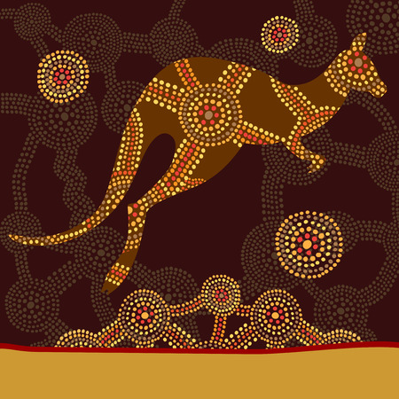 Kangaroo in style of Australian aboriginal dot painting