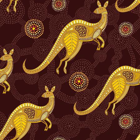 Motif kangourou sans couture, inspiré de l'art aborigène australien Vecteurs