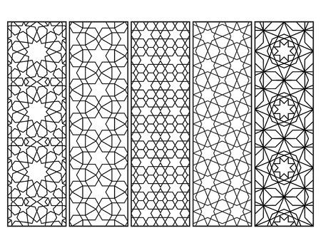 Marque-pages en mosaïque marocaine en noir et blanc, coloriage adulte