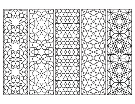 Morocñan mosaic bookmarks in black and white, adult coloring page