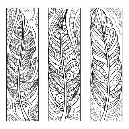 Hand drawn feathers in zen art style. Ornate coloring bookmarks. Vector illustration.