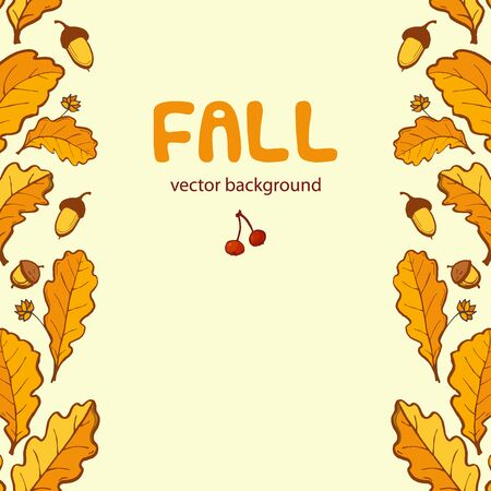 Yellow oak leaves. Fall background, template for design with pace for text