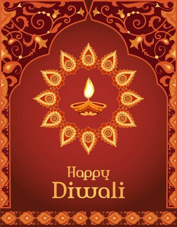 Happy Diwali greeting card, template for design