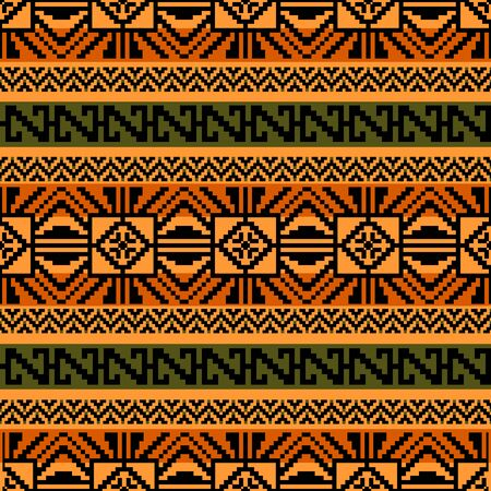Abstract geometric seamless pattern in ethnic style